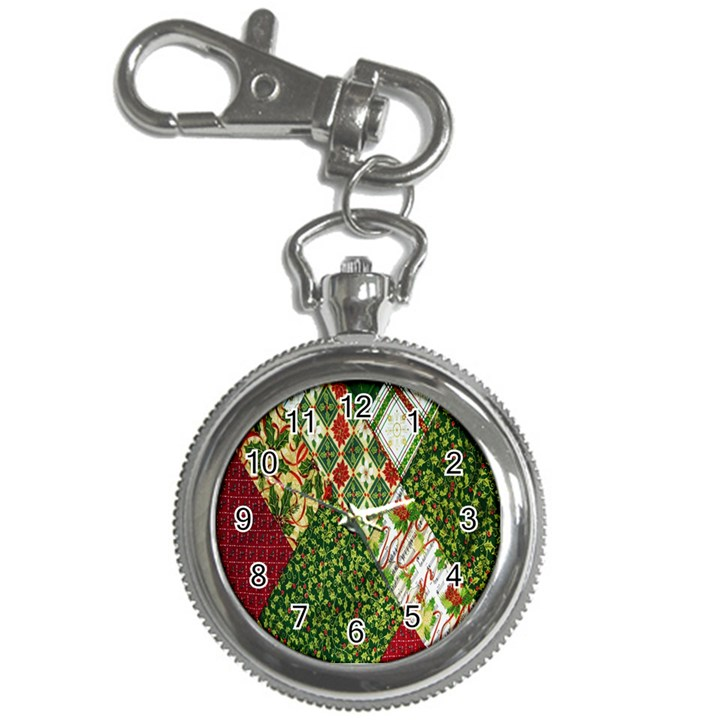 Christmas Quilt Background Key Chain Watches
