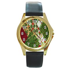Christmas Quilt Background Round Gold Metal Watch