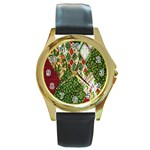 Christmas Quilt Background Round Gold Metal Watch Front