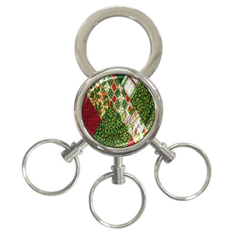 Christmas Quilt Background 3-Ring Key Chains