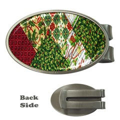 Christmas Quilt Background Money Clips (Oval)