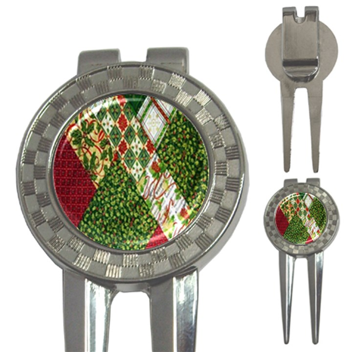 Christmas Quilt Background 3-in-1 Golf Divots