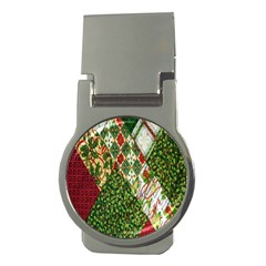 Christmas Quilt Background Money Clips (Round)
