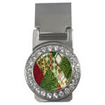 Christmas Quilt Background Money Clips (CZ)  Front