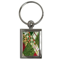 Christmas Quilt Background Key Chains (Rectangle)