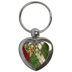 Christmas Quilt Background Key Chains (Heart)