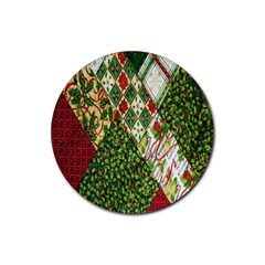 Christmas Quilt Background Rubber Coaster (Round)