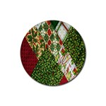Christmas Quilt Background Rubber Coaster (Round)  Front