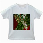 Christmas Quilt Background Kids White T-Shirts Front