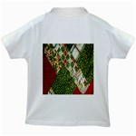 Christmas Quilt Background Kids White T-Shirts Back