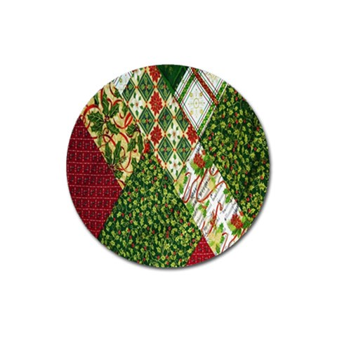 Christmas Quilt Background Magnet 3  (Round)