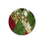 Christmas Quilt Background Magnet 3  (Round) Front