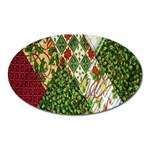 Christmas Quilt Background Oval Magnet Front