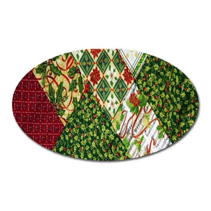Christmas Quilt Background Oval Magnet