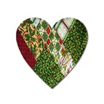 Christmas Quilt Background Heart Magnet Front