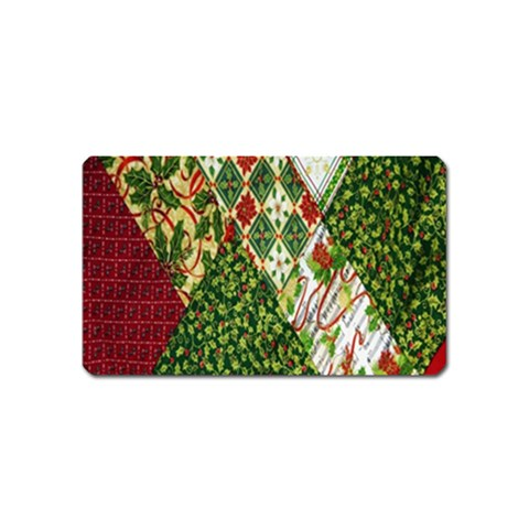 Christmas Quilt Background Magnet (Name Card)