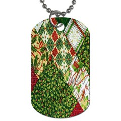 Christmas Quilt Background Dog Tag (One Side)