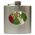 Christmas Quilt Background Hip Flask (6 oz) Front