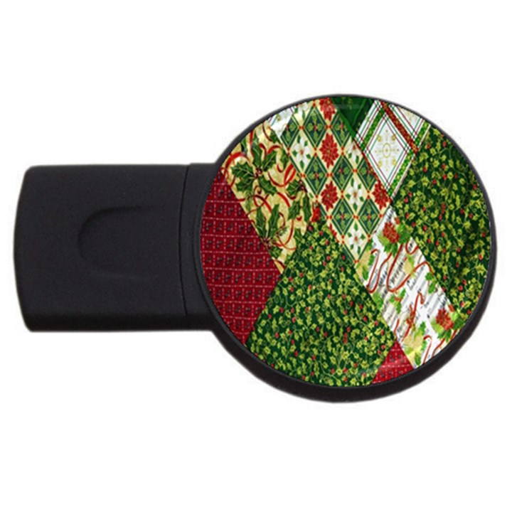 Christmas Quilt Background USB Flash Drive Round (1 GB)
