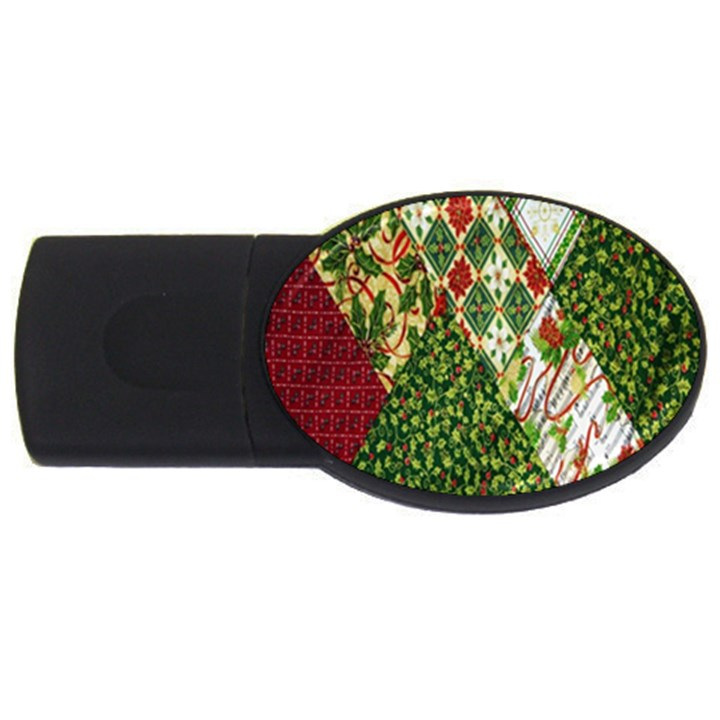 Christmas Quilt Background USB Flash Drive Oval (2 GB)