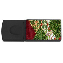 Christmas Quilt Background USB Flash Drive Rectangular (2 GB)