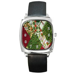 Christmas Quilt Background Square Metal Watch