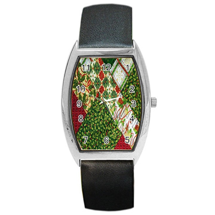 Christmas Quilt Background Barrel Style Metal Watch