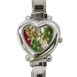 Christmas Quilt Background Heart Italian Charm Watch Front