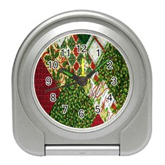 Christmas Quilt Background Travel Alarm Clocks