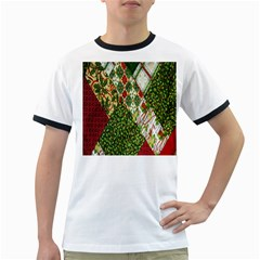 Christmas Quilt Background Ringer T-Shirts