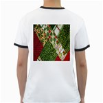 Christmas Quilt Background Ringer T-Shirts Back