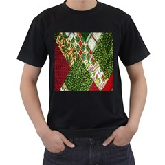 Christmas Quilt Background Men s T-Shirt (Black) (Two Sided)