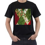 Christmas Quilt Background Men s T-Shirt (Black) (Two Sided) Front