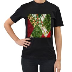 Christmas Quilt Background Women s T-Shirt (Black) (Two Sided)