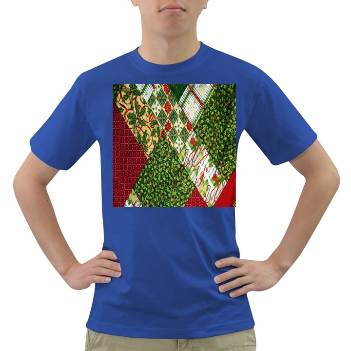 Christmas Quilt Background Dark T-Shirt