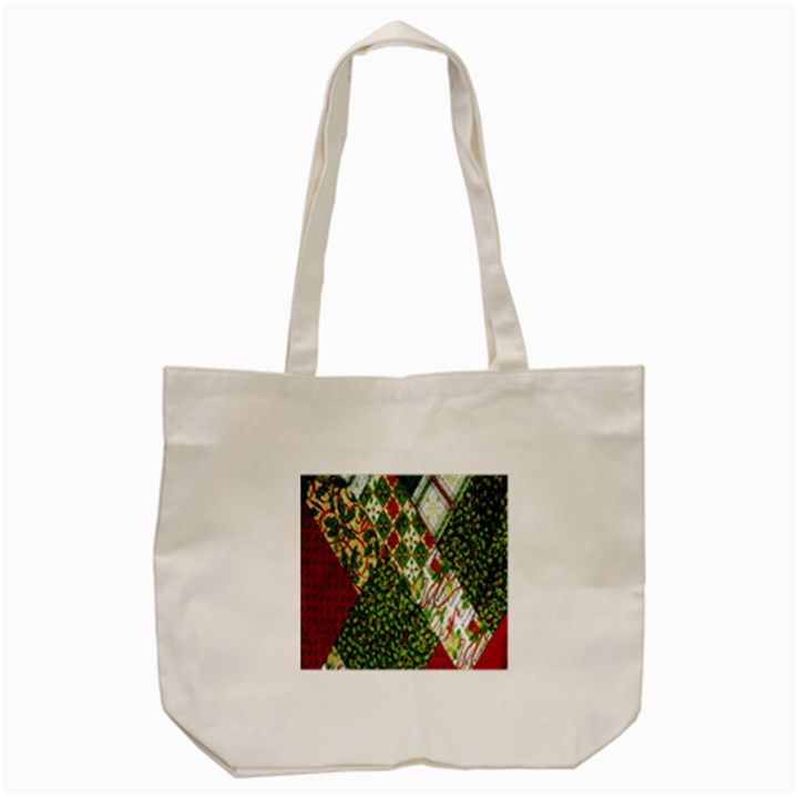 Christmas Quilt Background Tote Bag (Cream)