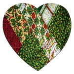 Christmas Quilt Background Jigsaw Puzzle (Heart) Front