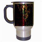 Christmas Quilt Background Travel Mug (Silver Gray) Left