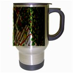 Christmas Quilt Background Travel Mug (Silver Gray) Right