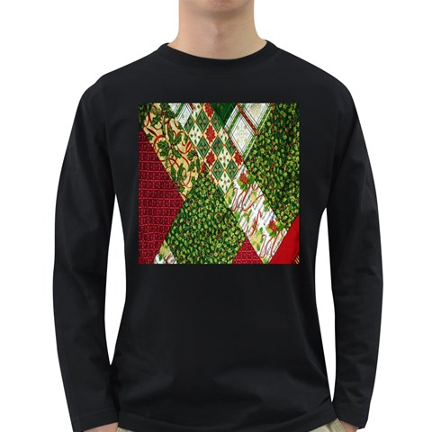 Christmas Quilt Background Long Sleeve Dark T-Shirts