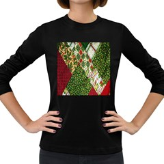 Christmas Quilt Background Women s Long Sleeve Dark T-Shirts