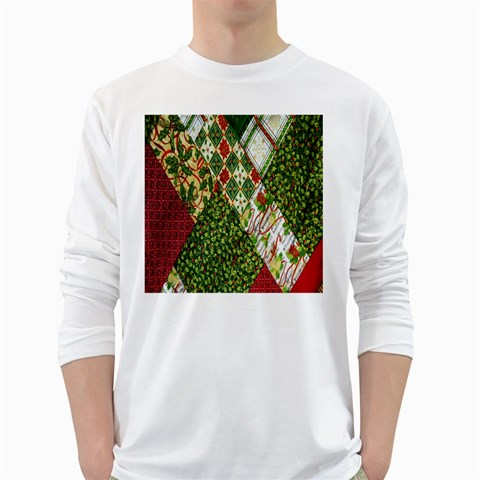 Christmas Quilt Background White Long Sleeve T-Shirts