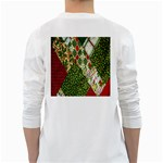 Christmas Quilt Background White Long Sleeve T-Shirts Back
