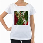 Christmas Quilt Background Women s Loose-Fit T-Shirt (White) Front