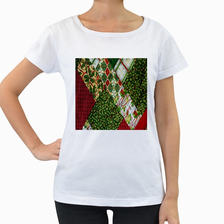 Christmas Quilt Background Women s Loose-Fit T-Shirt (White)