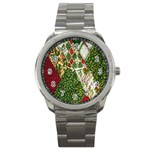 Christmas Quilt Background Sport Metal Watch Front