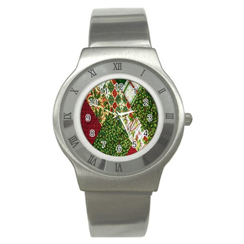 Christmas Quilt Background Stainless Steel Watch