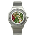 Christmas Quilt Background Stainless Steel Watch Front