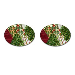 Christmas Quilt Background Cufflinks (Oval)