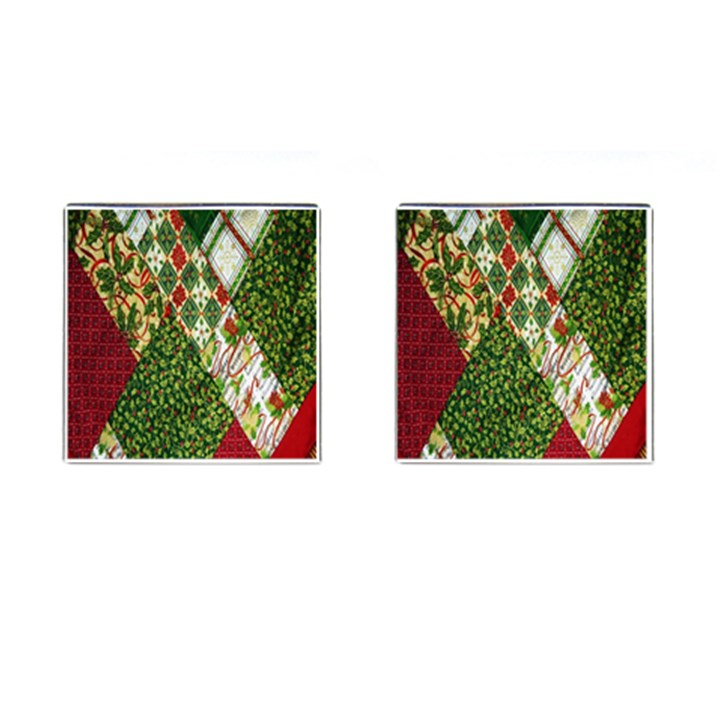 Christmas Quilt Background Cufflinks (Square)